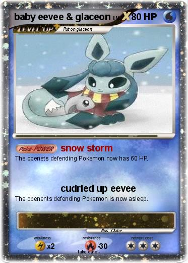 Pok 233 Mon Baby Eevee Glaceon Snow Storm My Pokemon Card