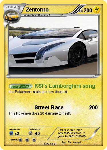 Pokemon Zentorno 5 5 Ksi S Lamborghini Song My Pokemon Card