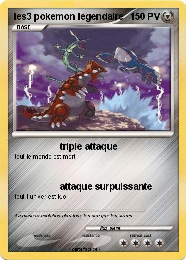 Pok mon les3 pokemon legendaire triple attaque ma carte pok mon - Tout les carte pokemon ex du monde ...