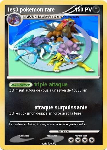 Pok mon les3 pokemon rare triple attaque ma carte pok mon - Pokemon rare diamant ...