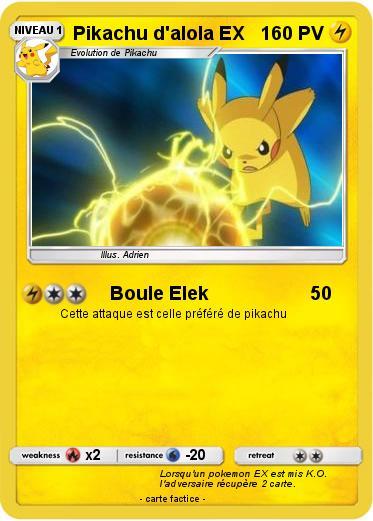 Pokémon Pikachu d alola EX - Boule Elek - Ma carte Pokémon
