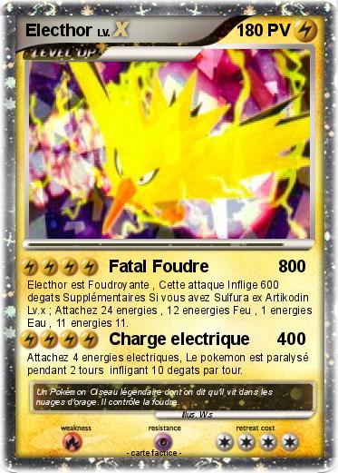 Pok mon electhor 142 142 fatal foudre 800 ma carte pok mon - Carte pokemon electhor ex ...