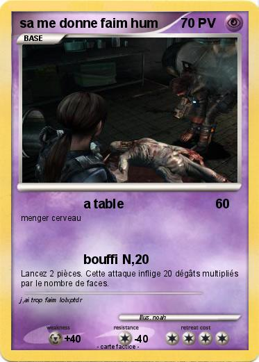 Pokémon sa me donne faim hum - a table - Ma carte Pokémon