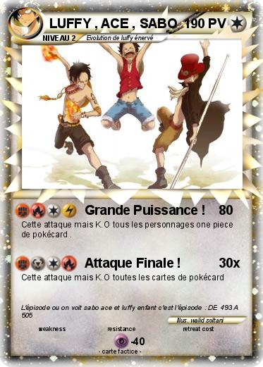 Pokemon Luffy Ace Sabo Grande Puissance Ma Carte Pokemon