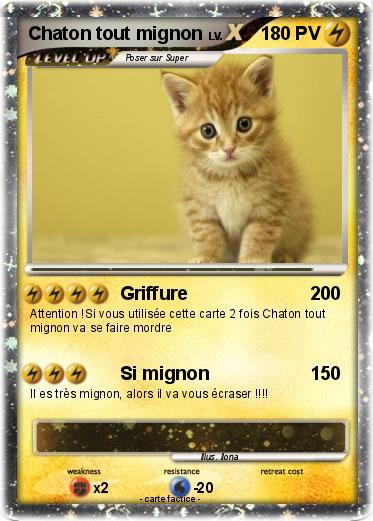 Pok mon chaton tout mignon 1 1 griffure ma carte pok mon - Chat tout mignon ...