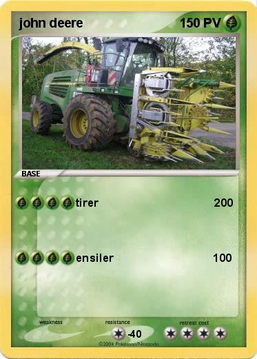 Pok mon john deere 3 3 tirer 200 ma carte pok mon - Dessin anime de tracteur john deere ...