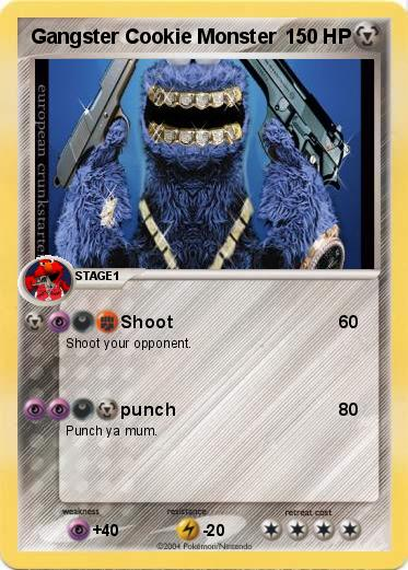 Pokémon Gangster Cookie Monster 3 3 Shoot My Pokemon Card