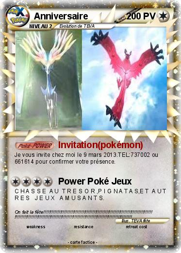 Souvent Pokémon Anniversaire 44 44 - Invitation(pokémon) - Ma carte Pokémon CS67