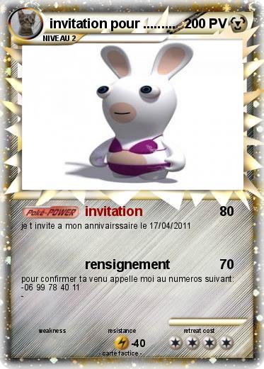 Bien connu Pokémon invitation pour - invitation - Ma carte Pokémon VU11