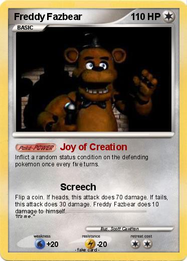 pokémon freddy fazbear 11 11 joy of creation my pokemon card