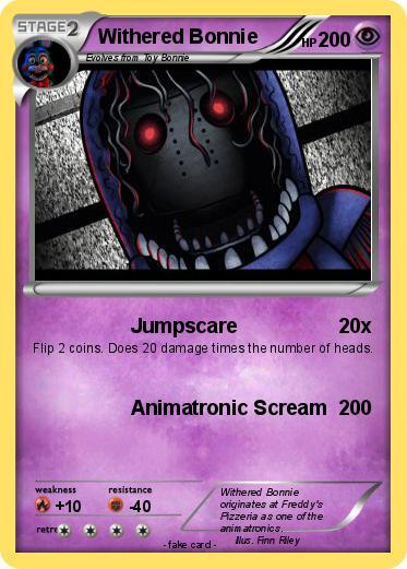 pokémon withered bonnie 77 77 jumpscare my pokemon card