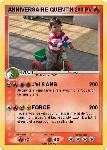 Pokémon Anniversaire Quentin Jai 8 Ans Ma Carte Pokémon