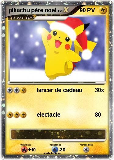 Pokémon pikachu pere noel - lancer de cadeau - Ma carte ...
