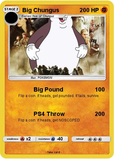 Pokemon Big Chungus 77 77 Big Pound My Pokemon Card