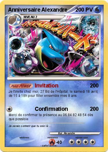 Pokemon Anniversaire Alexandre 1 1 Invitation Ma Carte Pokemon
