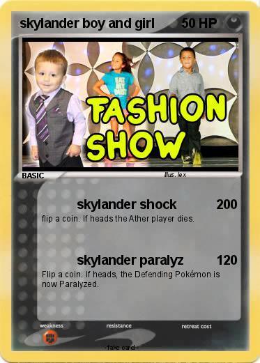 Pokmon skylander boy and girl 3 3 skylander shock My Pokemon Card