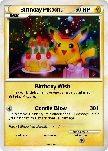 Pokmon Birthday Pikachu 17 17 Birthday Wish My Pokemon Card