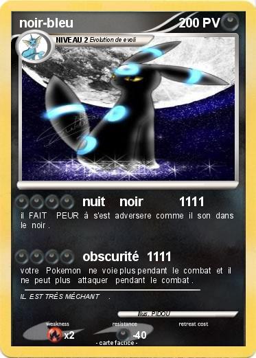 Pokémon noir bleu - nuit noir 1111 - Ma carte Pokémon
