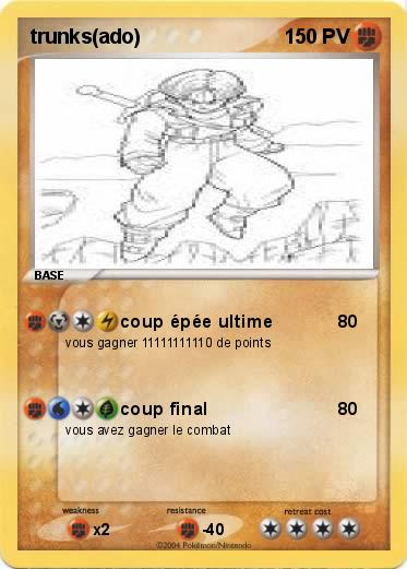 Pokémon Trunks Ado Coup épée Ultime Ma Carte Pokémon