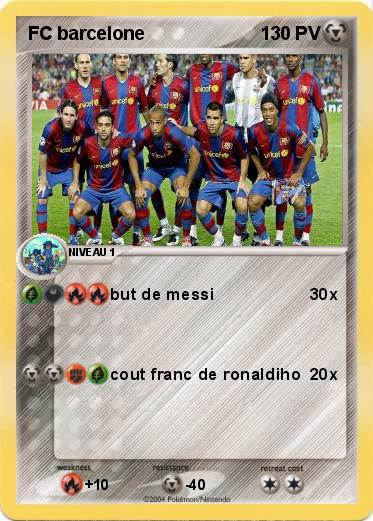 Pokemon Fc Barcelone 1 1 But De Messi Ma Carte Pokemon