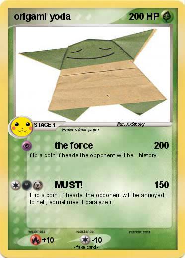 Pokmon Origami Yoda 60 60 The Force My Pokemon Card