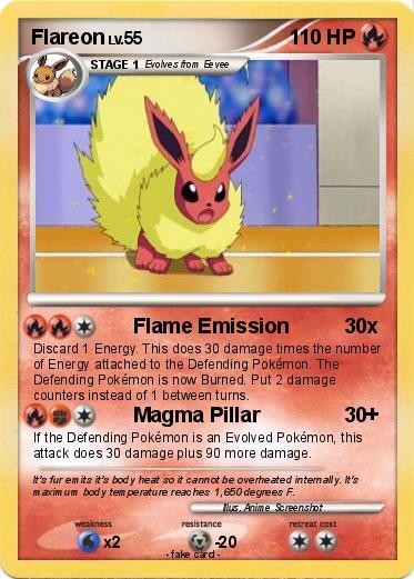 Pok 233 Mon Flareon 256 256 Flame Emission My Pokemon Card
