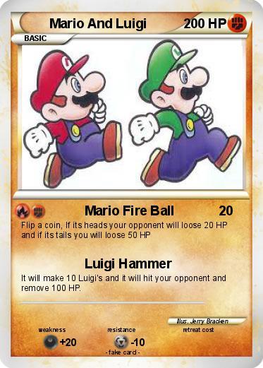 pokémon mario and luigi 221 221 mario fire ball my pokemon card