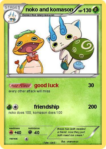 pokémon noko and komason good luck my pokemon card